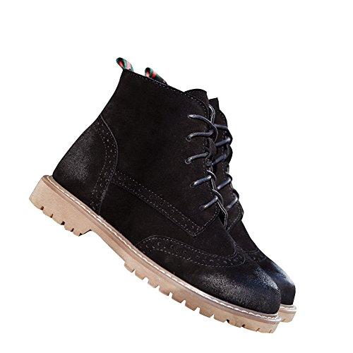 Fereshte Dames Dames Suede Lederen Enkel Hoge Martin Combat Boots Flats Laarzen Zwart