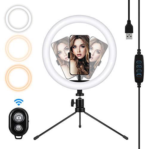 🥇 MOHOO 10″ Anillo de Luz LED 3 Colores 10 Brillos Regulables Control Remoto Aro de Luz con Trípode Soporte de Teléfono Ring Light para Youtube Maquillaje Selfie Transmisión en Vivo Lectura