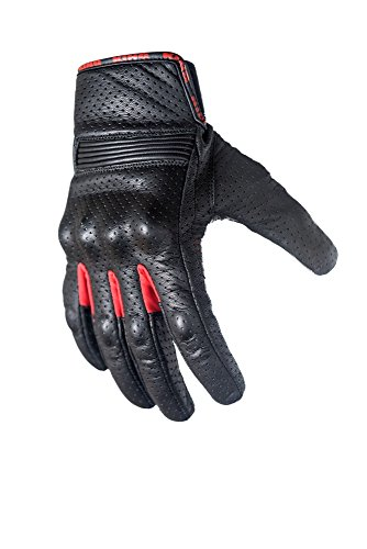Motorcycle Biker Gloves In Black Premium Leather | Padded All Weather Feature for Men and Women | Touchscreen Fingers - Breathable Moisture Wick Air Flow Technology Between Fingers | SWIFT (Red-3X)