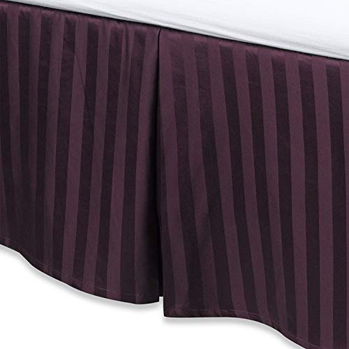 Skirt Silk Stripe (Levinsohn Textile Company 100 Percent Cotton 500 Thread Count Damask Stripe 15-inch Drop Bed Skirt Purple King)