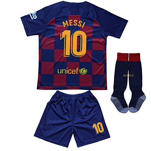 Old Football Jersey - Da Games Youth Sportswear Barcelona Messi 10 Kids Home Soccer Jersey/Shorts Football Socks Set (10-11 YEARS OLD, Home)