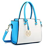 Miss Lulu Fashion PU Leather Classic Shoulder Bag Blue/White