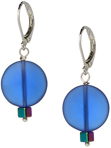 Ocean Blue Sea Glass Earrings, Handmade Jewelry- Swarovski Rainbow Blue Crystal