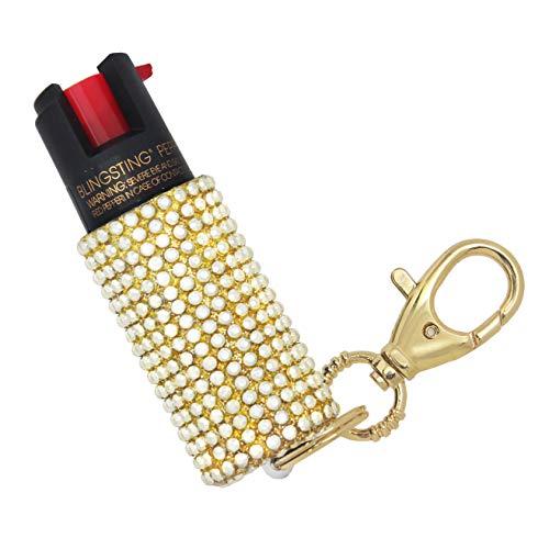 BLINGSTING Pepper Spray Keychain for Women Professional Grade Maximum Strength OC Formula 1.4 Major Capsaicinoids 12 Ft Effective Range Accurate Stream Self-Defense Accessory Designed for Women