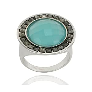 Sterling Silver Marcasite and Faceted Apatite Colored Glass Round Ring, Size 5