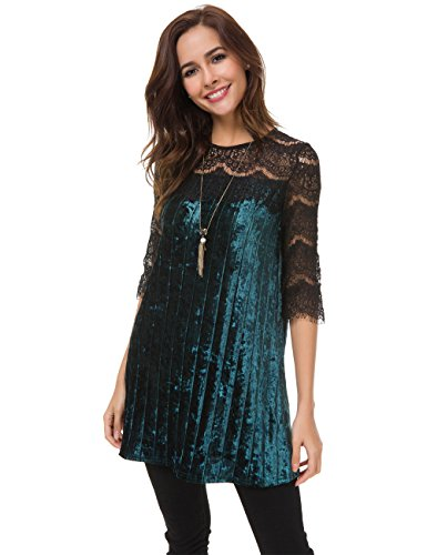 Mei teer Womens Hollow Out Sexy Velvet Tunic Blouse Lace 3/4 Sleeve Flowy Clubwear Cocktail Party Dress - Velvet Cocktail
