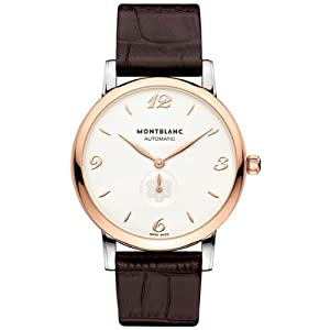 Montblanc Star White Dial Brown Leather Automatic Mens Watch 107309