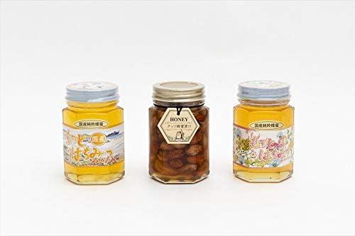 【国産純粋ハチミツ・養蜂園直送】みかん蜂蜜 百花蜂蜜 各180g ナッツ蜂蜜漬 160g