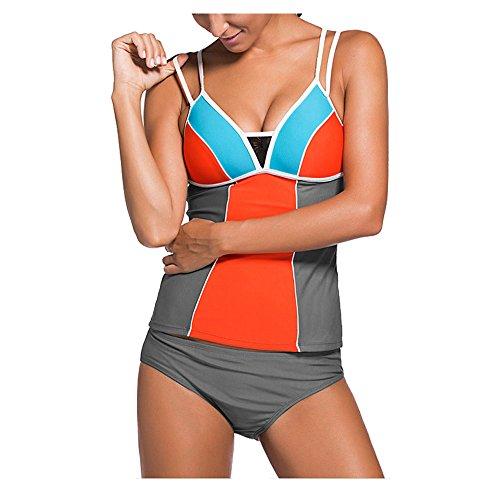 Darkey Wang Womens Sporty Swimsuit Double Up Tankini Top Bikini Sets - Fashion Pakistani Latest Images