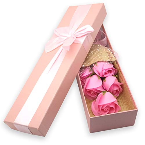 JIALEEY Rose Bouquet in a Box - Set of 5 Pink Scented Soap Roses - Best Gifts Her - Pink Gift Box a Bow