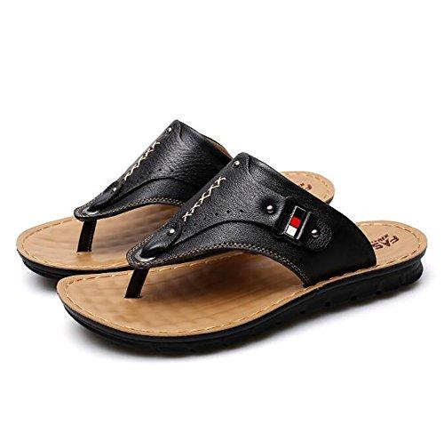 Black Playa Chanclas Hombres lightbrown Abierta Suave Cuero Verano Deportes De Zapatilla Punta Fondo Zapatos Exterior Sandalias Shangxian 38 q4RTq
