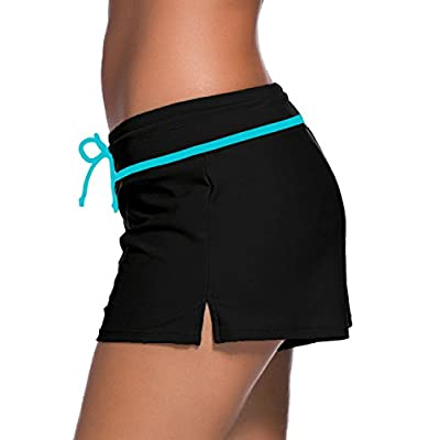 Aleumdr Womens Side Split Waistband Swim Shorts with Panty Liner Plus Size S - 3XL: Clothing