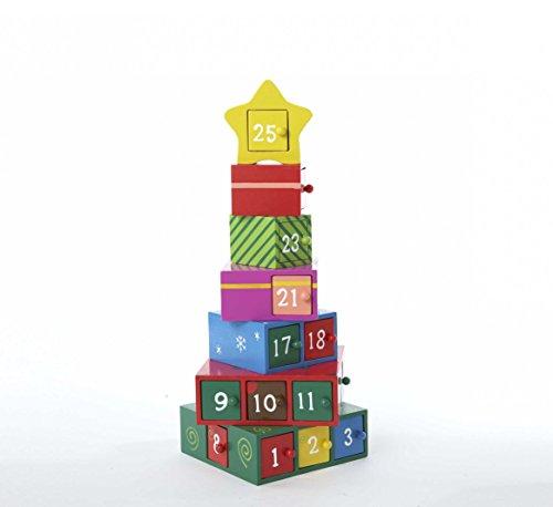 Kurt Adler Wooden Gift Tree Advent Calendar, 13-Inch