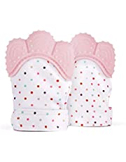 TFHEEY 2 Pieces Baby Teether Glove, Baby Teething Mittens, Flexible Silicone, BPA FREE, Relieve Gum Pain, Massage Gums and Protect Hands (Pink)