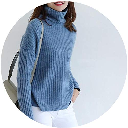 Rabbit Cashmere Wool Ribs Pullover Womens Sweaters Classic Women Angora Turtleneck Knitted Sweater,Blue,XXL ()