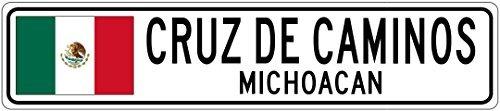 Custom Street SignCRUZ DE CAMINOS, MICHOACAN - Mexico Flag City Sign - 3x18 Inches Aluminum Metal Sign
