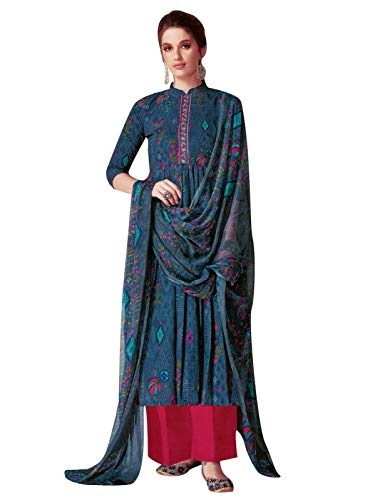 Ladyline Rayon Ethnic Printed Salwar Kameez Embroidery with Pants Style Indian Dress Suit (Size_44/ Dark Gray)