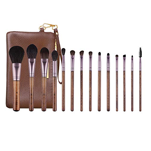 MyDestiny 14Pcs Makeup Brush Set Professional Beauty Brush for Foundation Powder Blush Eyeshadow Blending Cosmetic Kit Soft Goat Pony Hair Wooden Handle with PU Leather Travel Bag Brown (Eyeshadow For Brown Eyes And Brown Hair)