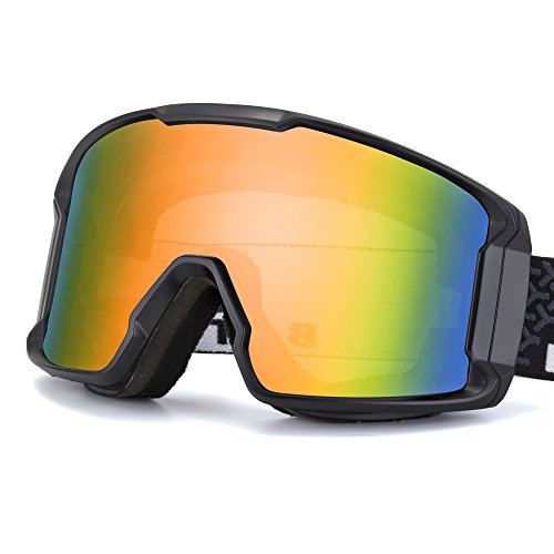 BATFOX Ski Goggles Safe Glasses Anti-Fog REVO PC Lens Snow Skiing Snowboard Goggles Shatterproof Over Glasses for Men Women Youth 100% UV Protection (Black&Opulent)