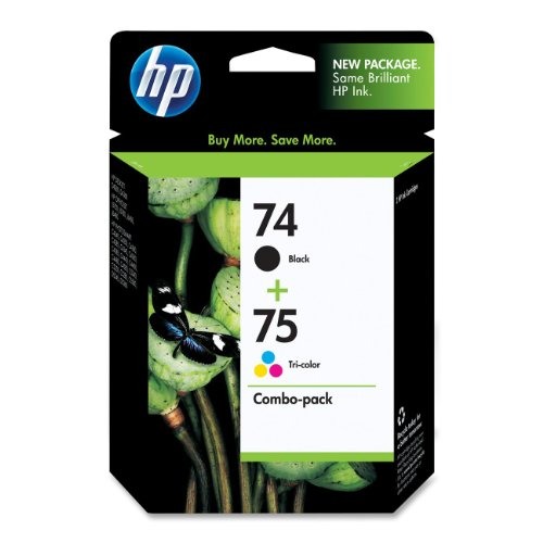 HP 74 Black & 75 Tri-color Ink Cartridges, 2 Cartridges (CB335WN, CB337WN) for HP Deskjet D4260 HP Officejet J5788 J6480 HP Photosmart C4342 C4344 C4382 C4384 C4435 C4440 C4524 C4540 - Ink Photosmart Hp