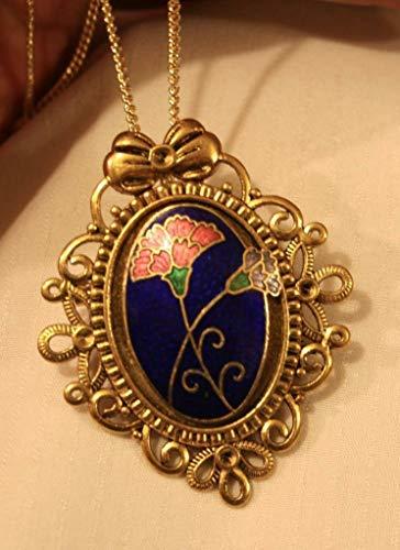 Lovely Bow Top Scalloped Rim Blue Maroon Cloisonne Bouquet Goldtn Necklace Pin UJ-1810 (Scalloped Cloisonne)