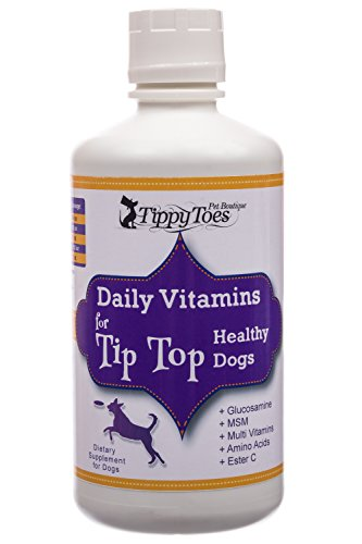 Tippy Toes Pet Boutique Premium Liquid Vitamins Dogs - #1 BEST Multivitamins Senior Dogs Supplement Healthy Skin Coat Natural Minerals Glucosamine MSM IRON Digestive Enzymes HUGE 32oz bottle USA Made