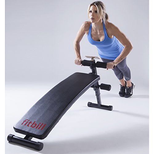 fitbill B601 Adjustable Decline Sit Up Workout Bench with Face Recognition Technology & Workout App