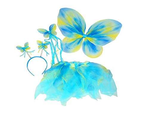 Blue & Green Neon Fairy Butterfly Costume Tutu Set (4 pc) (The Green Fairy Costume)