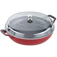 STAUB 14813006 Braiser with Glass Lid, 3.5-Qt, Cherry