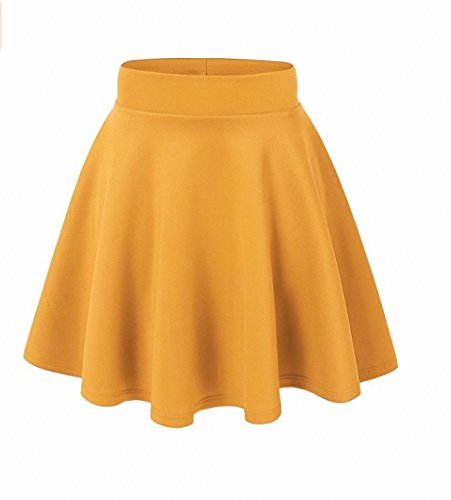 Afibi Girls Casual Mini Stretch Waist Flared Plain Pleated Skater Skirt (One Size, Pattern 30)