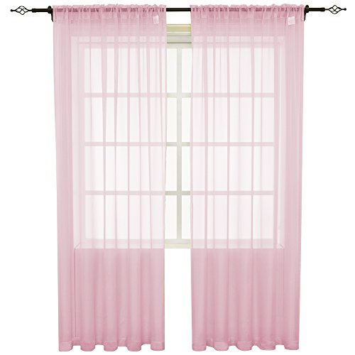 (HOLKING Sheer Window Cutains for Bedroom-Rod Pocket Sheer Curtains 95 inch for Living Room, 2 Panels Baby Pink Sheer Voile Curtains Each is 52 inch Width by 95 inch Length)
