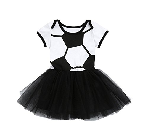 Rush Dance Boutique Princess Girls Birthday Celebration Sports Dress Outfit (90 (6-12 Months), Black & White Soccer)