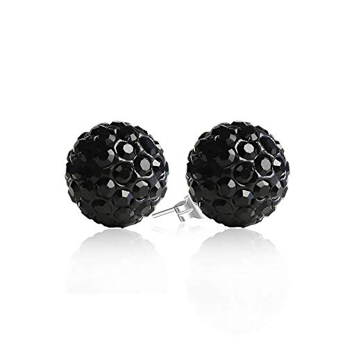 - BAYUEBA 925 Sterling Silver Crystal Ball Stud Earrings 8mm Black