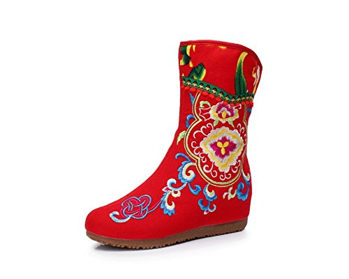 Style Side Embroidery Lady boot Women Red Elevator Zipper Lazutom Chinese qxapOBt