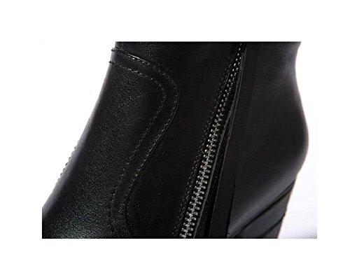 stivali vera di 35 giornaliero con donna tacco qualità di 37 alto stivaletti pelle Bootie Greggio impermeabile gqwHYCPR