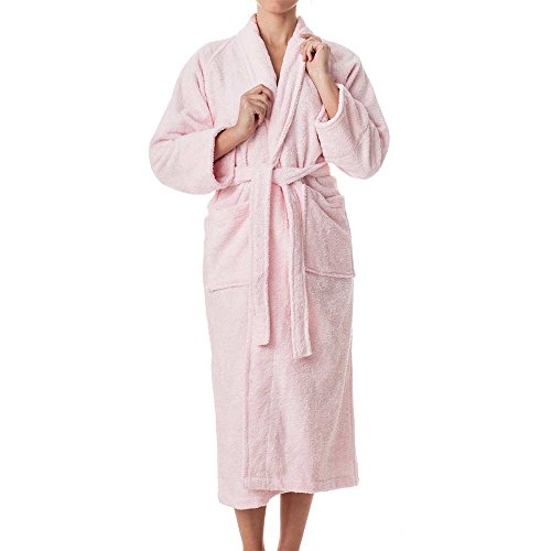 Unisex Terry Cloth Robe - 100% Long Staple Cotton Hotel/Spa Robes - Classic Robes For Men or Women,Pink,Medium