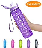 Fidus 32oz Leakproof Tritran BPA Free Water Bottle with Motivational Time Marker & Straw to Ensure You Drink Enough Water Daily for Fitness, Gym and Outdoor Sports-Purple