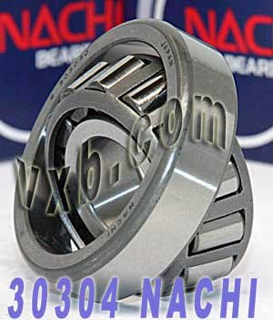 Nachi 30304 Tapered Roller Bearing Cone and Cup Set, Single Row, Metric, 20mm ID, 52mm OD, 16mm Width