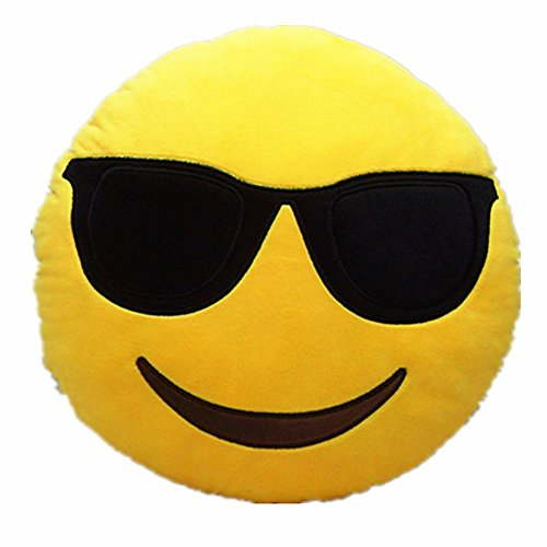 AB VOLTS Cool Glasses 12.5 Inch Emoji Pillow Large Plush Soft Yellow Smiley Emoticon -