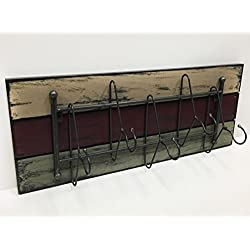 COATRACK with HANGER 5 metal hooks 32 Unique Rustic Distressed Reclaimed Coat Hat Towel Robe Rack for Entryway Kitchen Bathroom Laundry Room