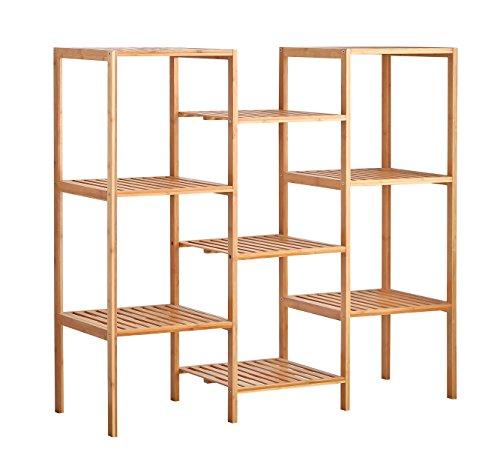 Plant Table - Finnhomy Natural Bamboo Shelf Plant Stand Display Wood Customizable Utility Shelf Bathroom Shelf 9-Tier Multifunctional Storage Rack Shelving Unit