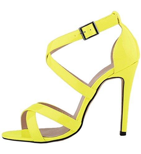 Yellow Heel Toe Sandals High HooH Women's Summer Pumps Cross Gladiator Peep Sandals ZCWUBw