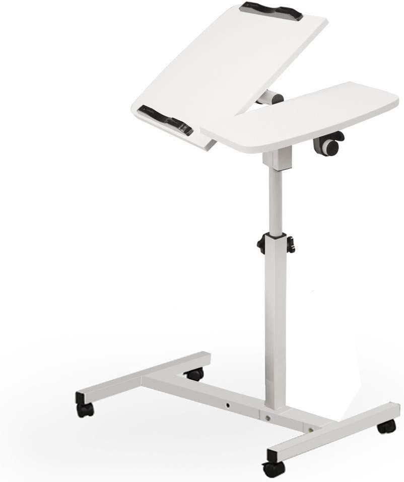 Turnlift Sit-Stand Portable Adjustable Mobile Laptop Computer Desk Multi-Function Home Office Notebook MacBook Tables Cart with Side Table (White)