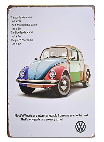 H&K Volkswagon VW Bug Retro Car Metal Tin Sign Posters Wall Decor 12X8-Inch (VWBug)