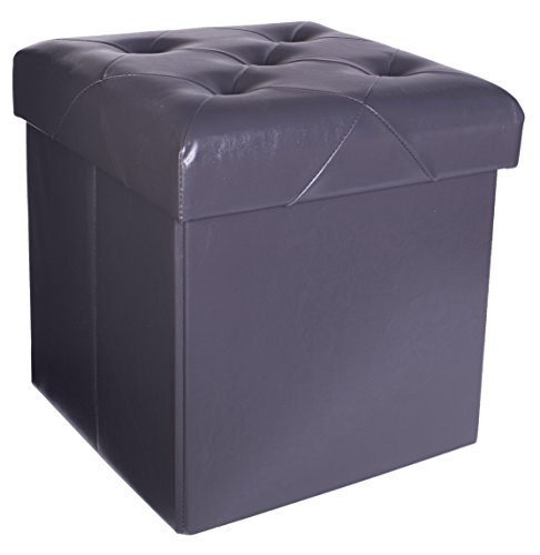 Foldable Charcoal (Premium Faux Leather Folding Cube Storage Ottoman with Padded Seat, 15