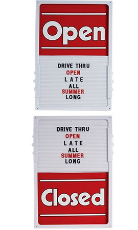 Red Vertical Sliding Open/closed Sign Board.• 14