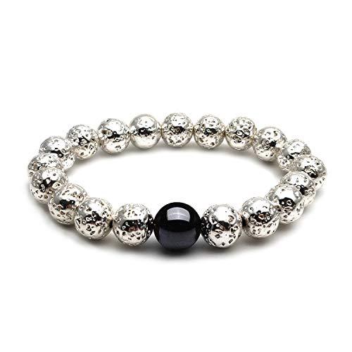 Beaded Bracelet Silver Plated Stretch (Morchic Plated Silver Lava Rock Stone Elastic Beaded Bracelet for Men Women)