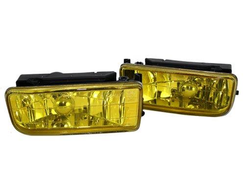 BMW E36 CRYSTAL FOG LIGHTS W/ BRACKETS & BULBS - YELLOW (Bmw Fog Light Bracket)