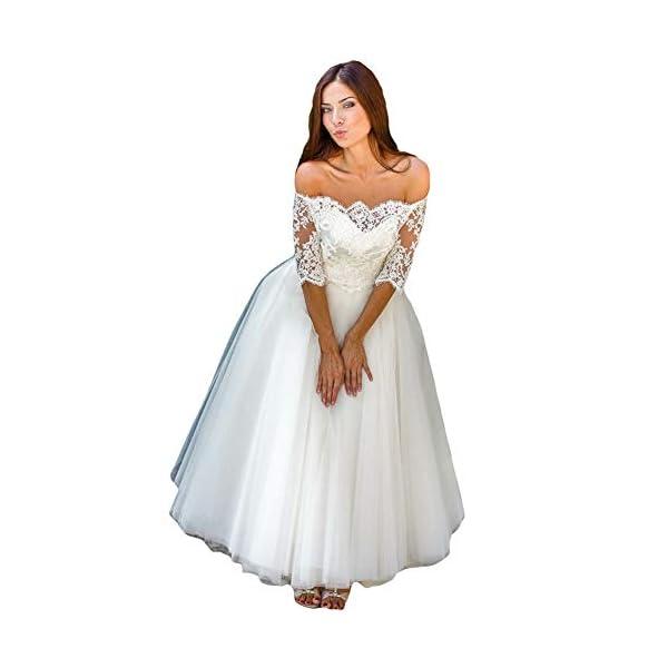Liyuke Womens Half Sleeves Lace Wedding Dress Off Shoulder Vintage