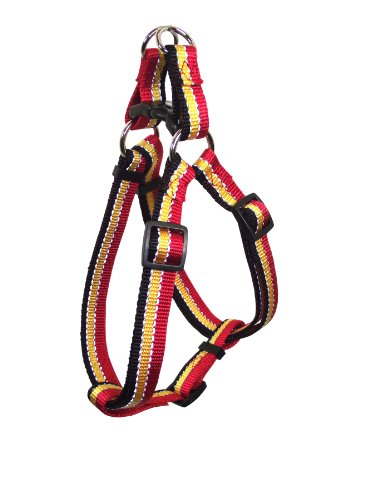 Hamilton Adjustable Easy on Medium Dog Harness with Reflective Threads, 3/4 by 20 to 30-Inch, Red/Gold/Black